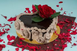 Rose on the top Choco delight cake